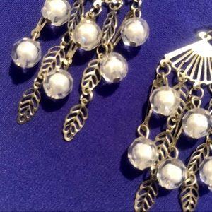 White & Silver Earrings